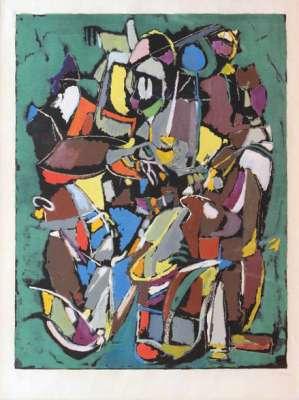 Composition sur fond vert (Lithographie) - André LANSKOY