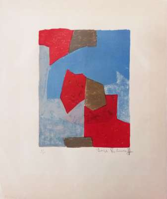 Composition bleue et rouge (Lithographie) - Serge  POLIAKOFF