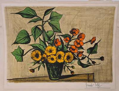 Bouquet of marigolds (Lithograph) - Bernard BUFFET