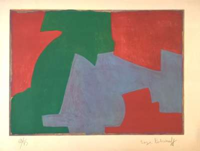 Composition in green, blue and red (Lithograph) - Serge  POLIAKOFF