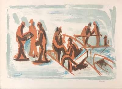 Force de la mer I (Lithograph) - Jean HELION
