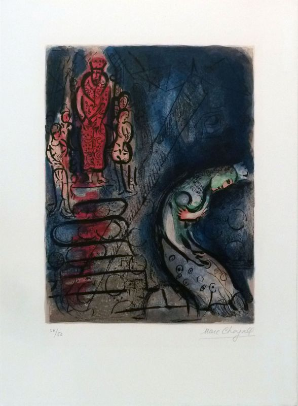 Assuérus chasse Vasthi (Lithographie) - Marc CHAGALL