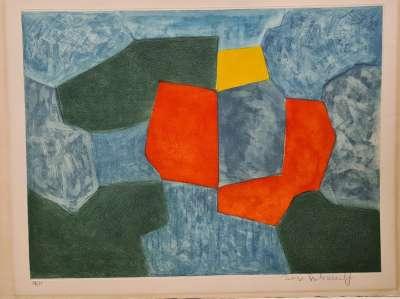 Composition verte, bleue, rouge et jaune XXXV (Eau-forte et aquatinte) - Serge  POLIAKOFF