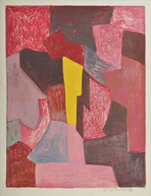 Composition rouge, carmin et jaune (Farblithographie) - Serge  POLIAKOFF