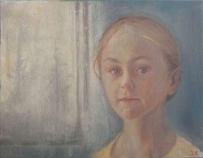 La fille et la fenetre (Öl auf Leinwand) - Dolores  CAPDEVILA