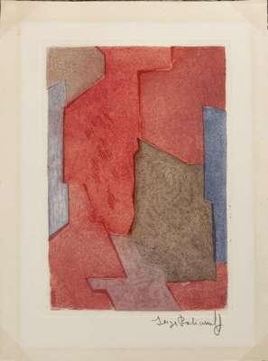Composition mauve, bleue et rouge n °XXI (Eau-forte et aquatinte) - Serge  POLIAKOFF