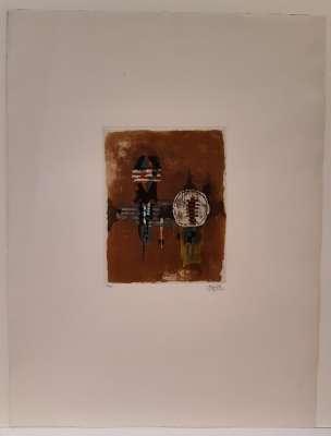 Sur fond rouge (Gravure) - Johnny FRIEDLAENDER