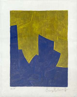 composition in blue and yellow n°61 (Lithograph) - Serge  POLIAKOFF