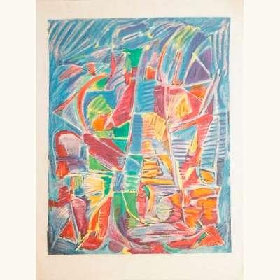 Composition sur fond bleu (Lithographie) - André LANSKOY