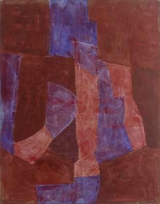Brun violet et rouge (Gouache) - Serge  POLIAKOFF
