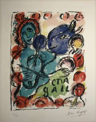 Pantomime (Farblithographie) - Marc CHAGALL