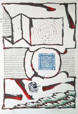Chutes et panaches, avec extraits de partitions labyrinthiques de Jean-Yves Bosseur (Farblithographie) - Pierre ALECHINSKY