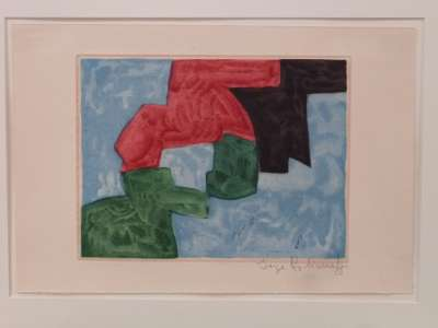 Composition bleue, noire, rouge et verte (Aquatinte) - Serge  POLIAKOFF