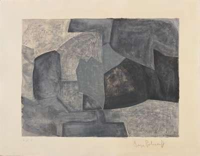 Composition grise (Lithographie) - Serge  POLIAKOFF