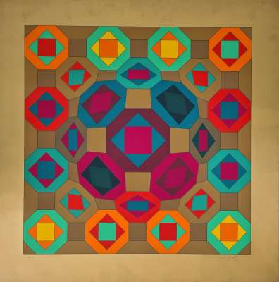 Okta-Or (Silksreen) - Victor  VASARELY