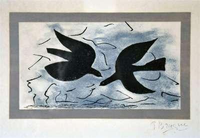 Deux hirondelles en vol (Lithographie) - Georges BRAQUE