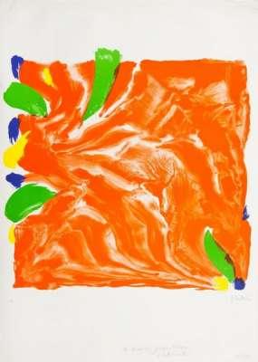 Composition en rouge, vert, bleu et jaune (Lithographie) - Olivier DEBRE