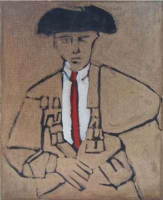 Matador rouge (Huile sur papier) - Alexis  POLIAKOFF