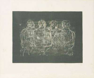 """Four grey ladies"" (Lithographie) - Henry  MOORE"
