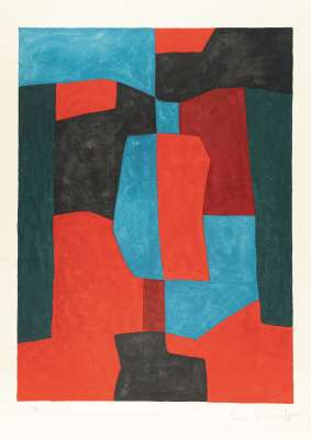 Composition red, green and blue 76 (Lithograph) - Serge  POLIAKOFF