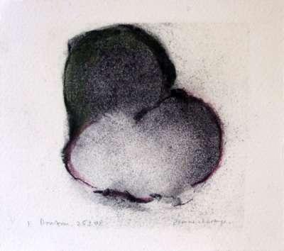 Deux fruits (Zeichenkohle) - Jean-Jacques  DOURNON