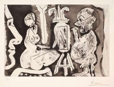 Peintre et modèle avec spectateur (Radierung und Aquatinta) - Pablo  PICASSO