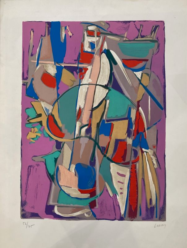 Composition Abstraction fond rose (Lithographie) - André LANSKOY