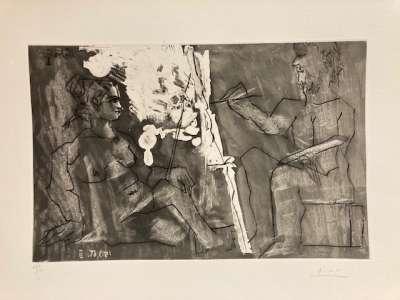 Peintre à son chevalet, avec un modèle assis (Aquatinte) - Pablo  PICASSO