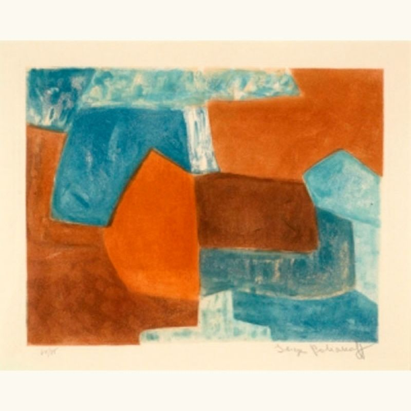 COMPOSITION ROUGE ET BLEU XXXVI (Etching and aquatint) - Serge  POLIAKOFF