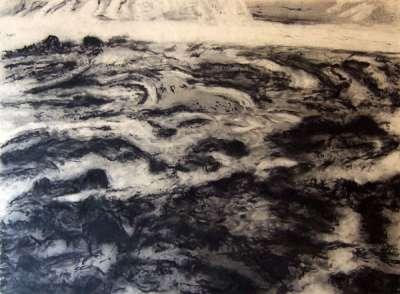 Marée montante (Fusain) - Jean-Jacques  DOURNON