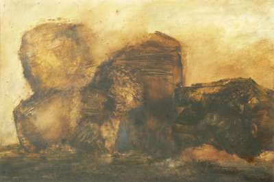 Tempête de sable (Oil on paper) - Véronique NEROU