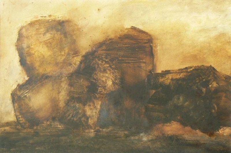 Tempête de sable (Huile sur papier) - Véronique NEROU