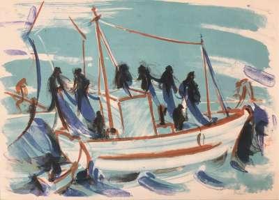 Force de la mer V (Lithograph) - Jean HELION