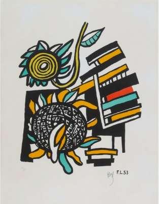 Les deux tournesols (Lithographie) - Fernand LEGER