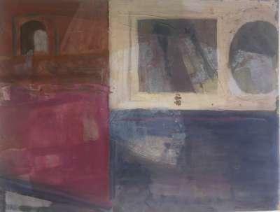 Maria MANTON / Le carré de marbre (Huile sur papier) -  Artistes Divers