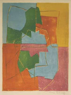 Composition Rouge Verte Bleue et Jaune n°12 (Lithographie) - Serge  POLIAKOFF