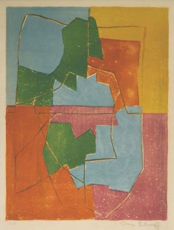Composition Rouge Verte Bleue et Jaune n°12 (Lithographie) - Serge  POLIAKOFF
