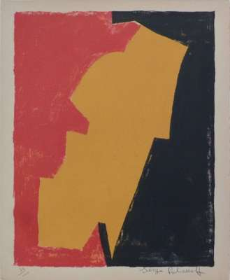 Compostion in red yellow and black n°3 (Lithograph) - Serge  POLIAKOFF