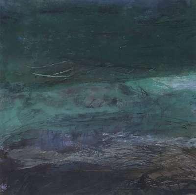Mer verte Inde du Sud (Huile sur papier) - Gilles MAUPUR