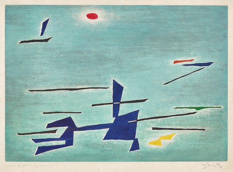 Digue-espace (Eau-forte et aquatinte) - Gustave  SINGIER