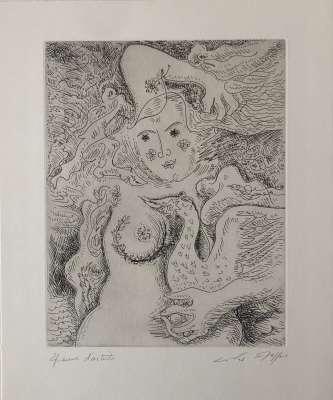 Léda aux trois perles (Engraving) - André  MASSON