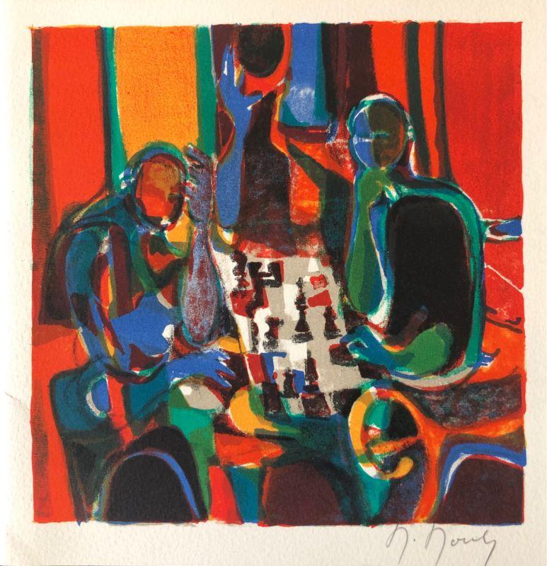 Marcel MOULY / Les échecs (Carte de voeux) -  Artistes Divers