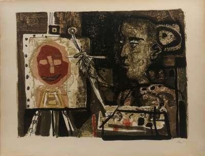 Woman painter (Lithograph) - Antoni CLAVE