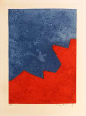 Composition rouge et bleue XXXII (Eau-forte et aquatinte) - Serge  POLIAKOFF