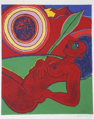 Le nu rouge en été (Lithograph) - Guillaume CORNEILLE