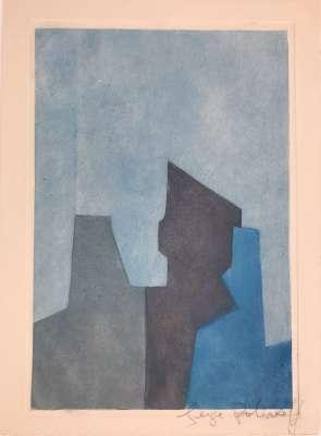 Composition in blue (Etching and aquatint) - Serge  POLIAKOFF