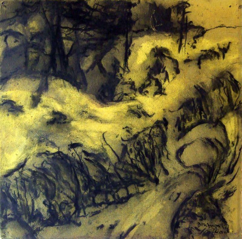 Colline jaune II (Fusain) - Jean-Jacques  DOURNON
