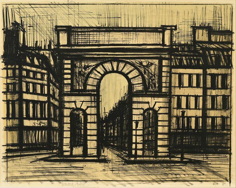 La Porte Saint-Martin (Lithographie) - Bernard BUFFET