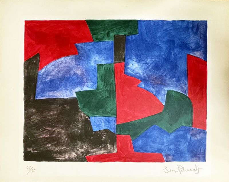 Composition verte, rouge et bleue n°64 (Lithographie) - Serge  POLIAKOFF