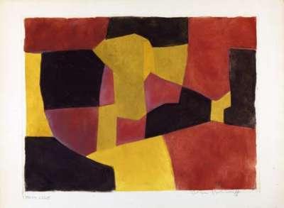 Composition Noire, Jaune et Brune X (Eau-forte et aquatinte) - Serge  POLIAKOFF